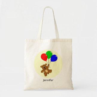 Cute bear with balloons cartoon name tote budget tote bag