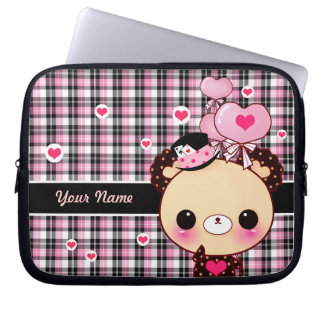 Cute bear with balloons on black and pink plaid laptop sleeve