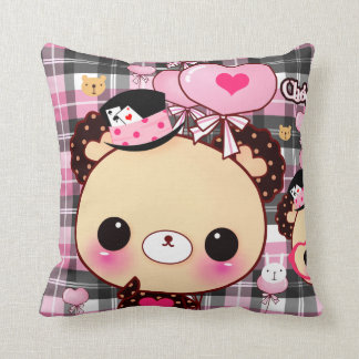 Cute bear with balloons on black and pink plaid throw cushions