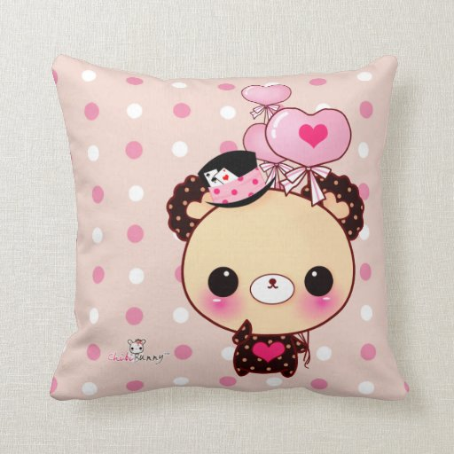 Cute bear with balloons on pink & white polka dots pillows
