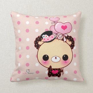 Cute bear with balloons on pink & white polka dots throw cushion