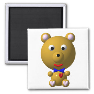 Cute bear with bowtie and heart refrigerator magnet