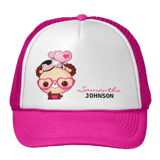 Cute bear with pink glasses - Personalized Trucker Hats