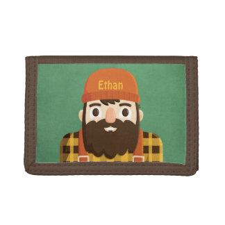 Cute Beard Lumberjack in Plaid Green Boys Wallet