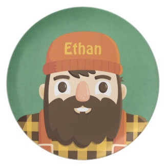 Cute Beard Lumberjack in Plaid Personalized Plate