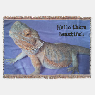 Cute Bearded Dragon Picture Blue Throw Blanket