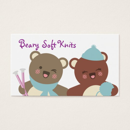 Cute bears knitting needles yarn gift tag card