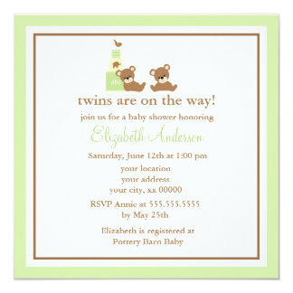 Cute Bears Twins Baby Shower 13 Cm X 13 Cm Square Invitation Card
