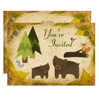 Cute Bears Woodland Animals 1st Birthday Invite