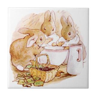 Cute Beatrix Potter, Bunnies,  Custom Tile