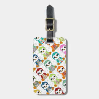 Cute beautiful colourful penguins flowers luggage tag
