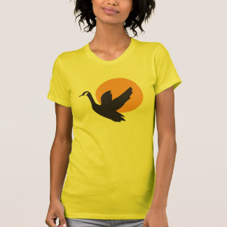 Cute Beautiful Flying Goose Bird and Sunset T-Shirt