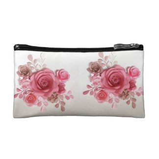 CUTE BEAUTIFUL PINK FLOWER COSMETIC OR PENCIL BAG