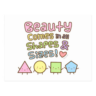 Cute Beauty Come in All Shapes and Sizes Quote Postcard
