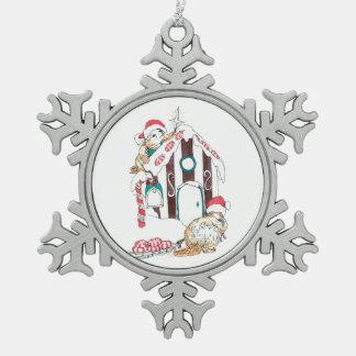 Cute Beaver Chalet Christmas Decorating Wildlife Snowflake Pewter Christmas Ornament
