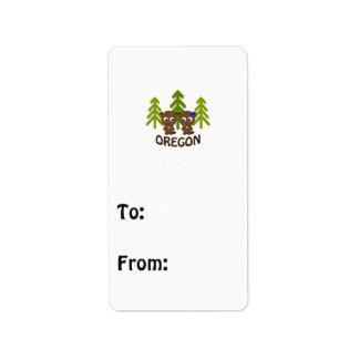 Cute Beaver Couple Oregon Address Label