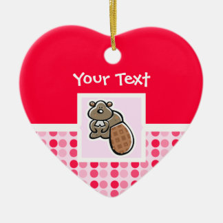 Cute Beaver Ceramic Heart Decoration