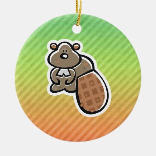 Cute Beaver Design Christmas Ornament
