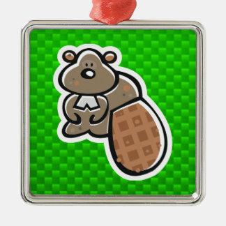 Cute Beaver Green Christmas Ornament