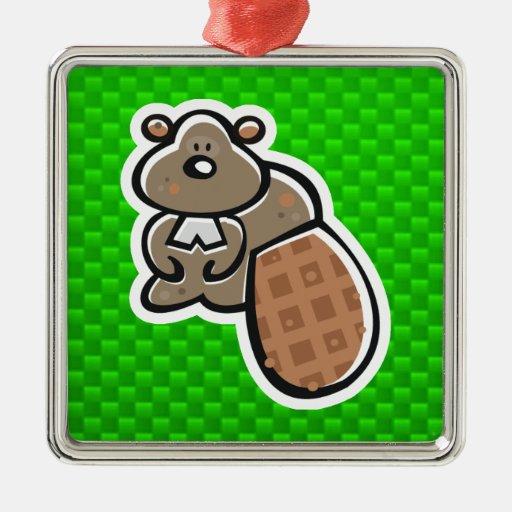 Cute Beaver; Green Christmas Ornament