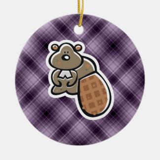 Cute Beaver Purple Christmas Ornaments