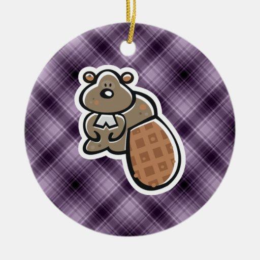 Cute Beaver; Purple Christmas Ornaments