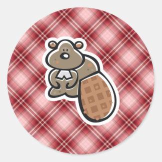 Cute Beaver; Red Plaid Classic Round Sticker