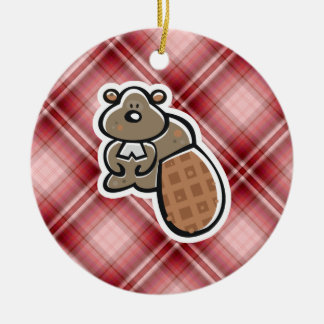 Cute Beaver Red Plaid Christmas Tree Ornament