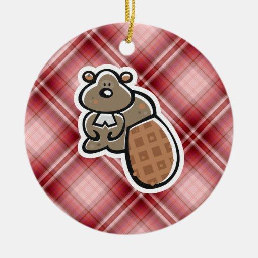 Cute Beaver; Red Plaid Christmas Tree Ornament