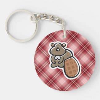 Cute Beaver; Red Plaid Key Ring
