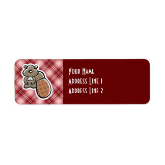 Cute Beaver; Red Plaid Return Address Label