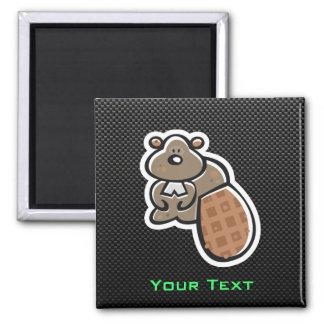 Cute Beaver; Sleek Square Magnet