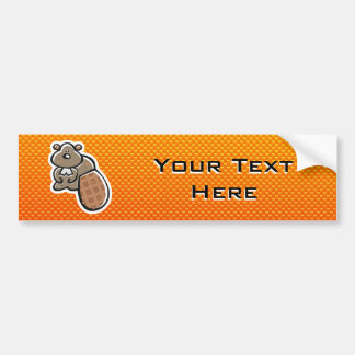 Cute Beaver; Yellow Orange Bumper Sticker