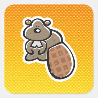 Cute Beaver; Yellow Orange Square Sticker