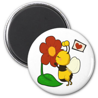 Cute bee 6 cm round magnet