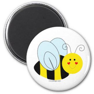 Cute Bee 6 Cm Round Magnet