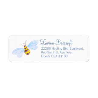 Cute bee art reply address labels