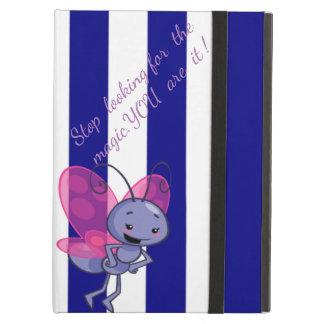 Cute Bee,Blue White Stripes-Motivational message iPad Air Case
