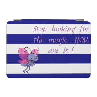Cute Bee,Blue White Stripes-Motivational message iPad Mini Cover