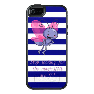 Cute Bee,Blue White Stripes-Motivational message OtterBox iPhone 5/5s/SE Case
