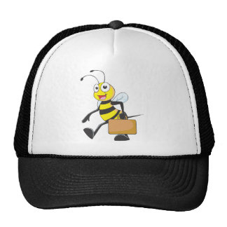 Cute Bee Cartoon Carry Attache Go to Work Office Mesh Hat
