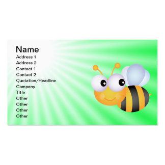 Cute Bee; Green Business Card Template