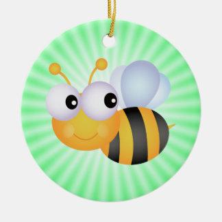 Cute Bee; Green Round Ceramic Decoration