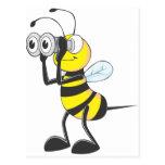 Cute Bee Holding Binoculars Looking at Something