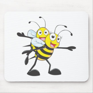 Cute Bee Mom Mum Playing with Daughter Mousepads