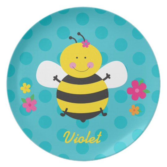Cute Bee Personalised Melamine Plate