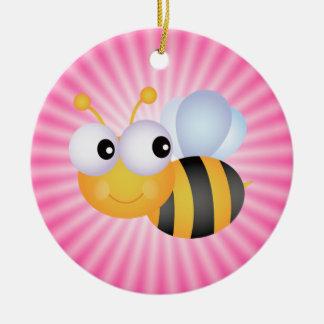 Cute Bee; Pink Round Ceramic Decoration