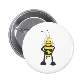 Cute Bee Playing Colored Cube 6 Cm Round Badge