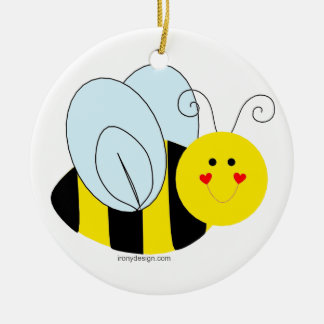Cute Bee Round Ceramic Decoration