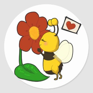 Cute bee round stickers
